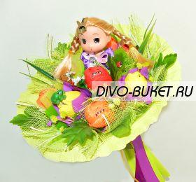 """Букет с куклой и конфетами №486-1К """"Дюймовочка"""""""
