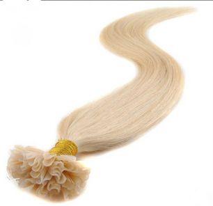 Натуральные волосы на кератиновой капсуле U-тип, №613 Натуральный блонд - 55 см, 100 капсул.