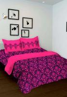 Купить индийское фиолетовое с розовым покрывало на кровать из хлопка