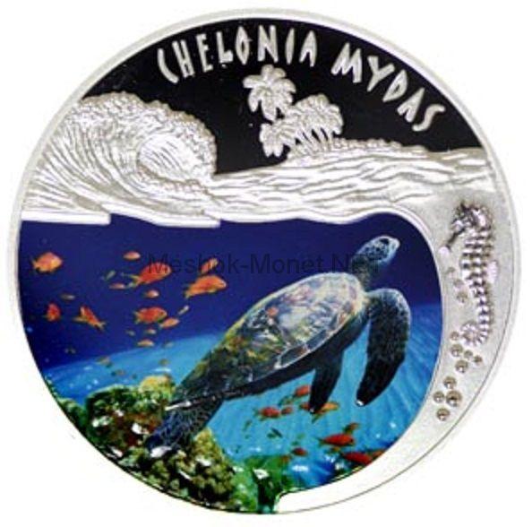 500 франков 2010 года Руанда. Зеленая морская черепаха. Цветная эмаль