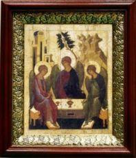 Троица (19х22), темный киот