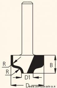 Фреза концевая врезная профильная  D35 B9,5 d 12  W.P.W. RRA3502