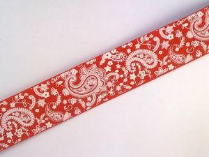 Лента репсовая с рисунком, ширина 25 мм, длина 10 метров цвет: красный