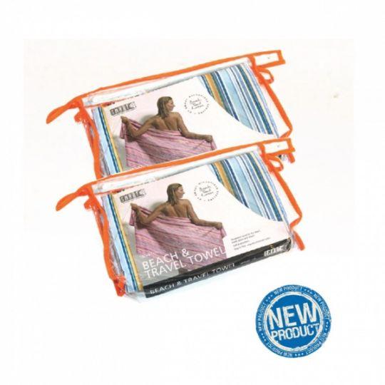 Smart Microfiber Полотенце пляжное 87 х 180 см синее / оранжевое