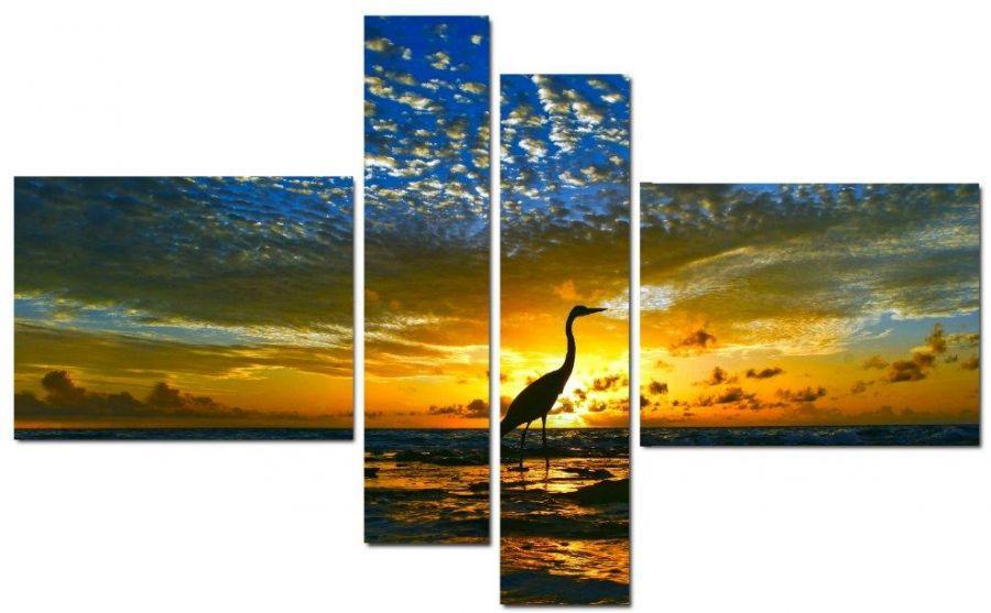 Модульная картина Аист на закате