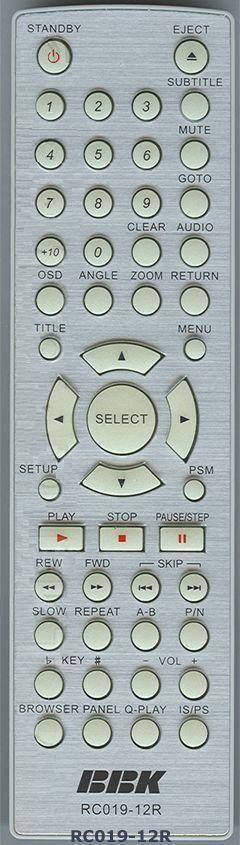 BBK RC019-12R (DVD player) (DV314S, DV315S, DV323S, DV324S, DV962S, DV963SM)