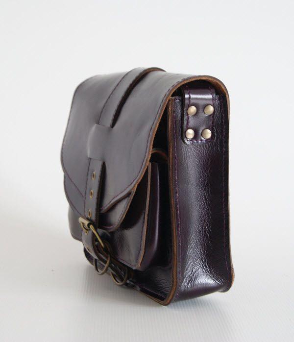 BUFALO U05 PURPLE баклажановая кожаная сумка
