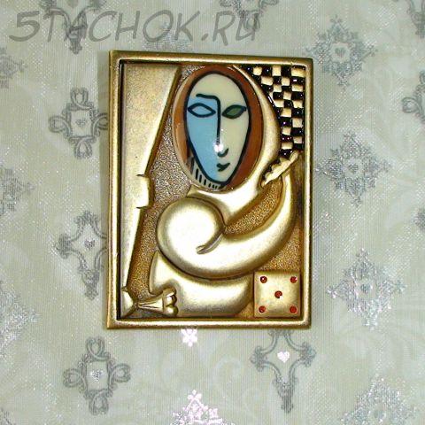 """Брошь """"Абстракционизм"""" под золото/эмаль/керамика"""