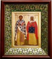 Киприан и Иустина (21х24), киот со стразами