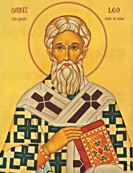 Икона Лев, папа Римский (рукописная)