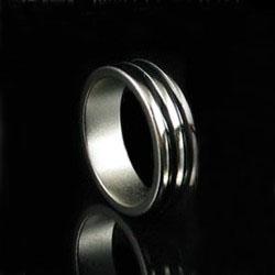 Магнитное кольцо серебро (с двумя чёрными полосками)