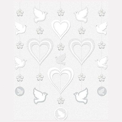 Гирлянда вертикальная Сердца и голуби бел 5шт