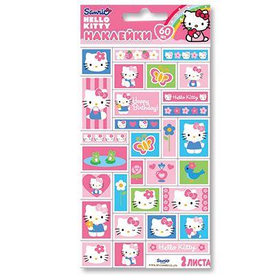 Наклейки Hello Kitty Цветы, 60 штук
