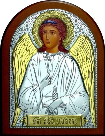 Серебряная с золочением икона Ангела Хранителя (листовое серебро, 12*16см., Россия)