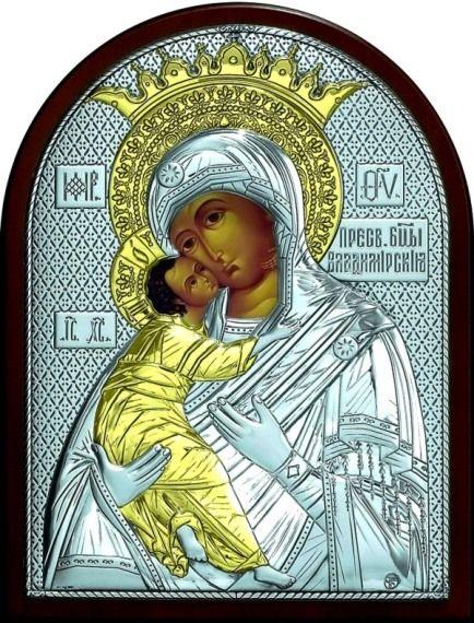 Серебряная с золочением икона Богородица Владимирская (листовое серебро, 12*16см., Россия)