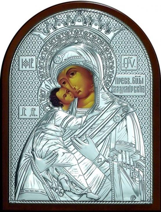 Серебряная икона Богородица Владимирская (листовое серебро, 12*16см., Россия)