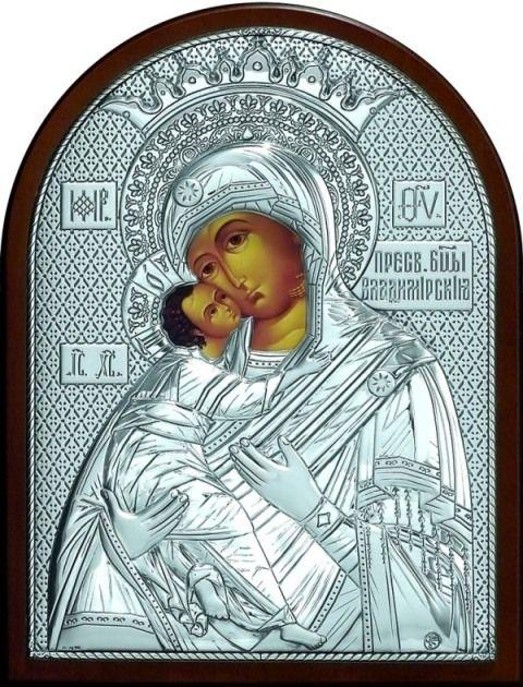 Серебряная икона Богородица «Владимирская» (19*25см., Россия)