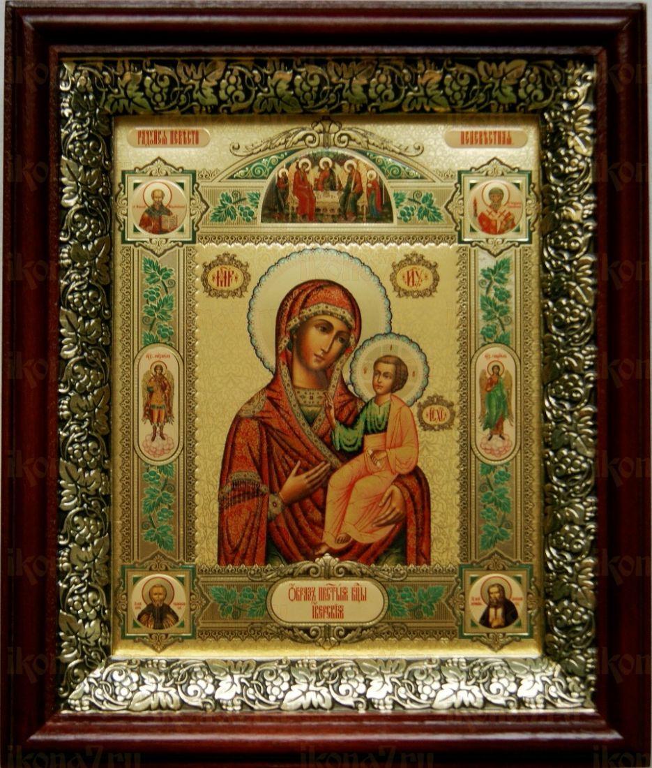 Иверская икона БМ (19х22), темный киот