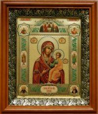 Иверская икона БМ (19х22), светлый киот