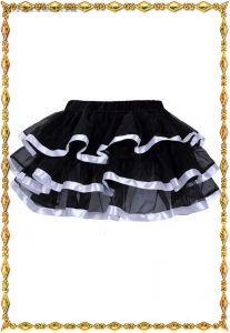 Черная многоуровневая юбка с белой отделкой