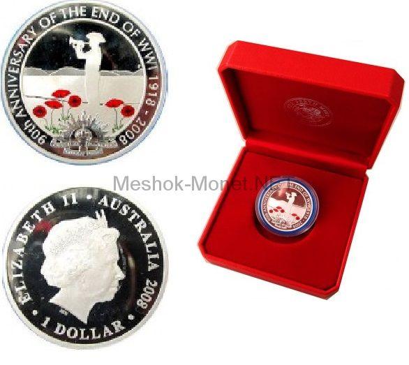 1 доллар 2008 года Австралия. 90 лет окончания Первой Мировой Войны. Красные маки.