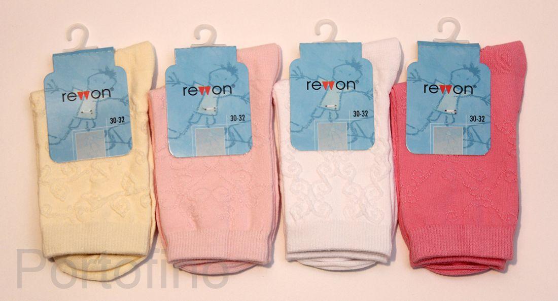 103-002 белые жаккардовые носочки для девочек  Rewon