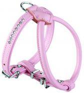 Hunter шлейка для собак Round&Soft 40/6 (27/32-38 см) кожа стразы светло-розовая