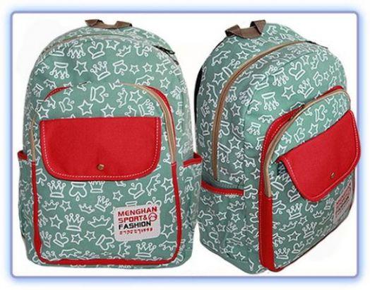 Молодежный рюкзак с коронами зеленый