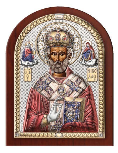 Серебряная икона Святой Николай (Италия)