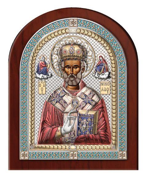 Серебряная икона Святой Николай (18,5см, Италия, эксклюзивная рамка)
