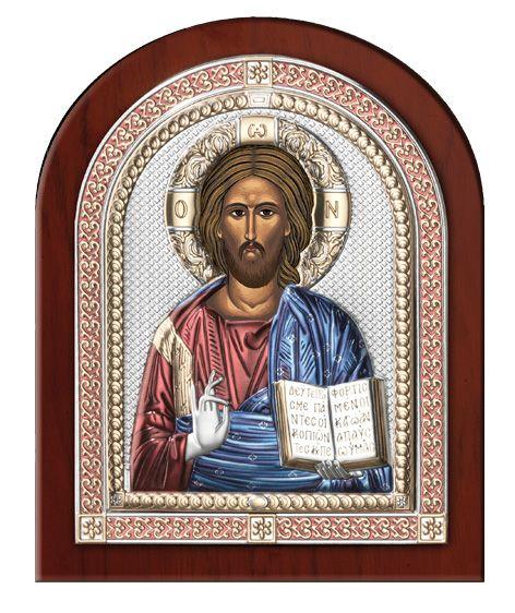 Серебряная икона Иисуса Христа Спасителя в рамке (Италия)