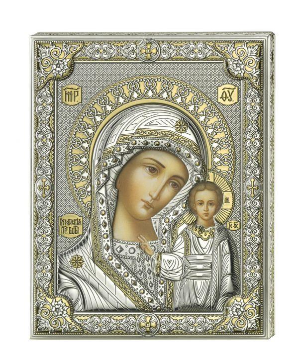 Серебряная икона Божией Матери Казанской (листовое серебро, Италия)