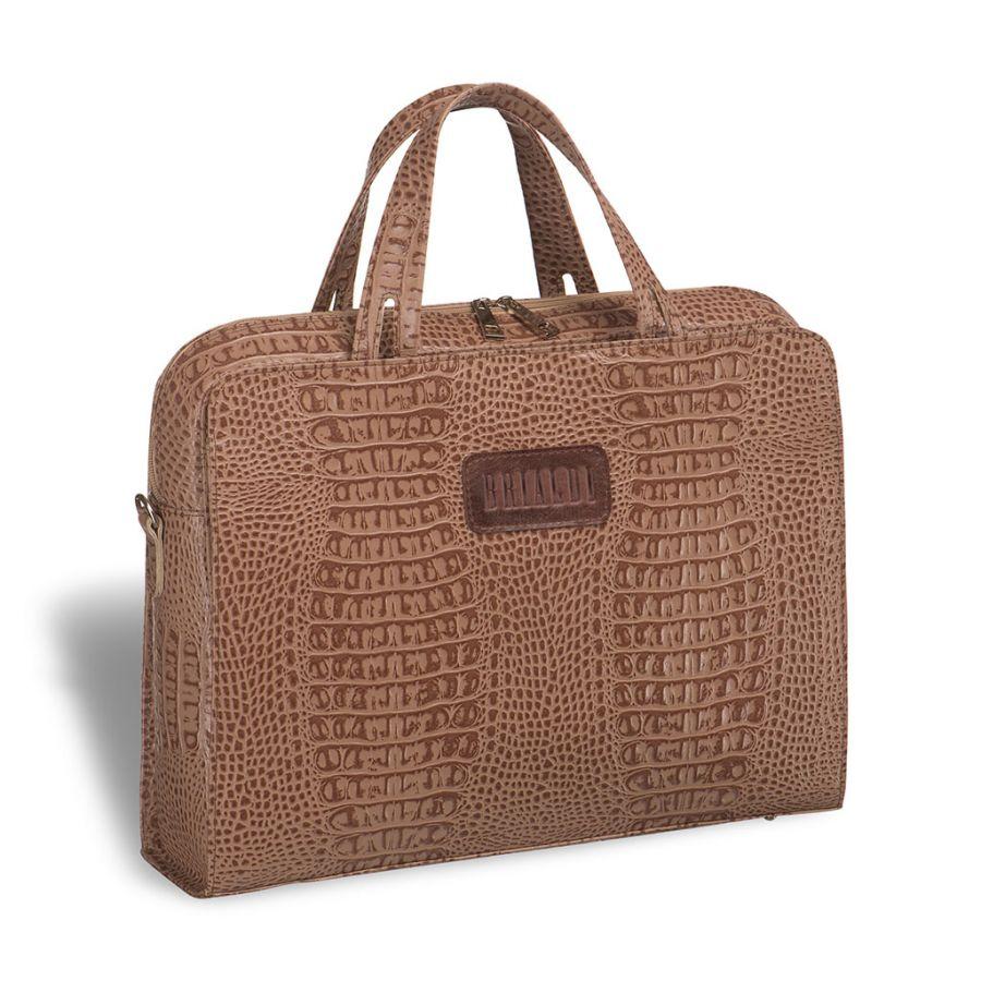 Женская деловая сумка BRIALDI Alicante (Аликанте) croco cappuccino