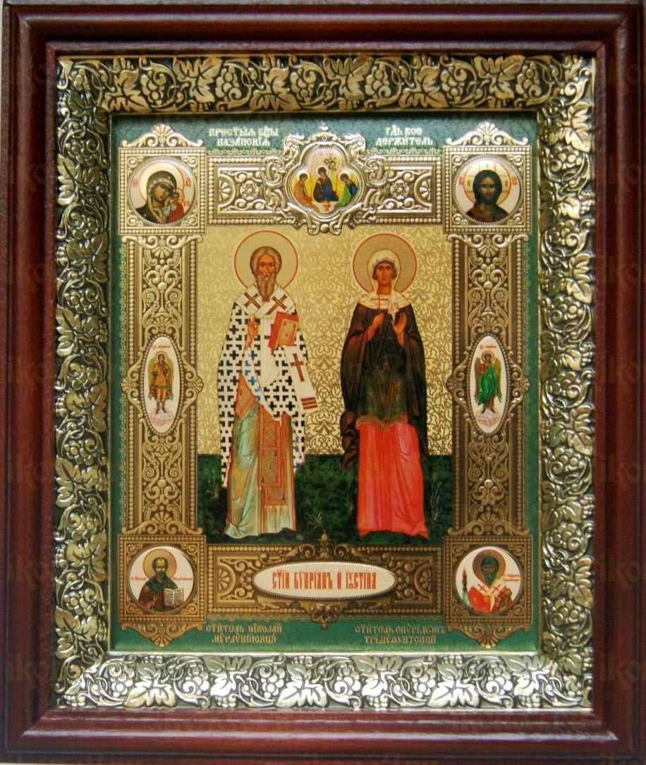 Киприан и Иустина (19х22), темный киот