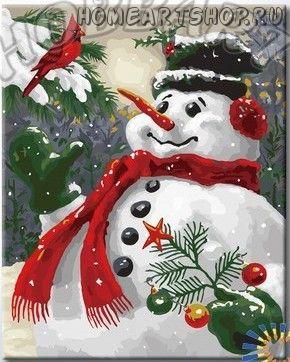 "Картина по номерам ""Снеговик"""