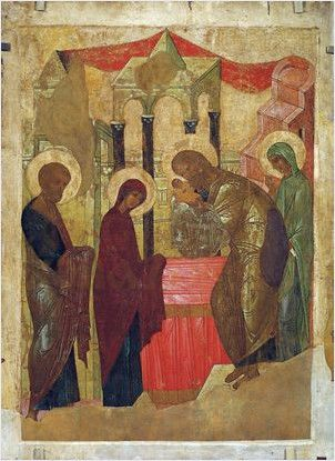 Икона Сретение Господне (копия Рублева, 15 век)