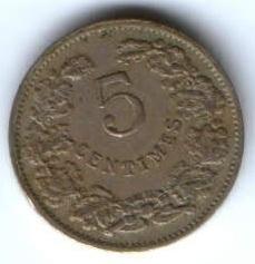 5 сантимов 1908 г. Люксембург