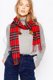 шарф 100% шерсть ягнёнка , расцветка королевский клан Стюартов Royal Stewart Tartan  плотность 6