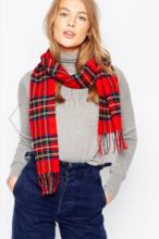 шарф 100% шерсть ягнёнка , расцветка королевский клан Стюартов Royal Stewart Tartan  плотность 6.