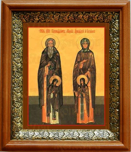 Ксенофонт и Мария (19х22), светлый киот