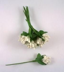Тычинки в связках перламутровые, цвет - белый, 1уп = 6 связок (1 связка = 11-12 букетиков)