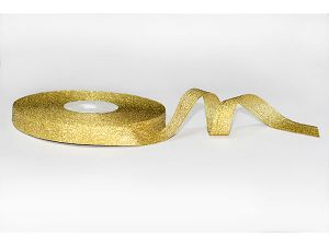 Лента металлизированная. Цвет золото 12 мм (Рулон 32 м)