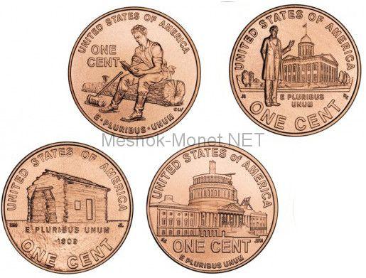 Набор из 4 монет 1 цент 200 летие Линкольна