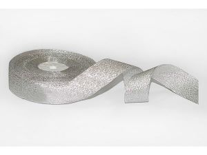 Лента металлизированная. Цвет серебро 25 мм (Рулон 32 м)