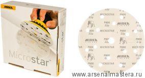Шлифовальный круг на пленочной  основе липучка Mirka MICROSTAR 150мм 15 отв P800 в комплекте 50 шт.
