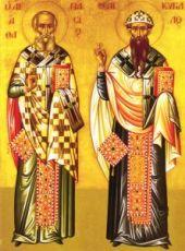 Афанасий и Кирилл Александрийские (рукописная икона)