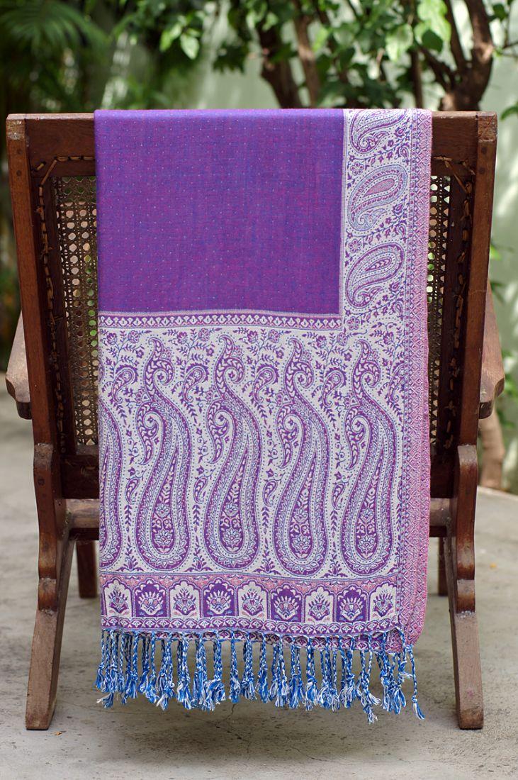 Фиолетовый с белым палантин (отправка из Индии)