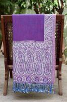 Двухсторонний фиолетовый с белым палантин
