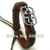 """Кожаный браслет с металлической пластиной """"Намура"""""""