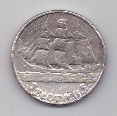 5 злотых 1936 г. парусник. Польша